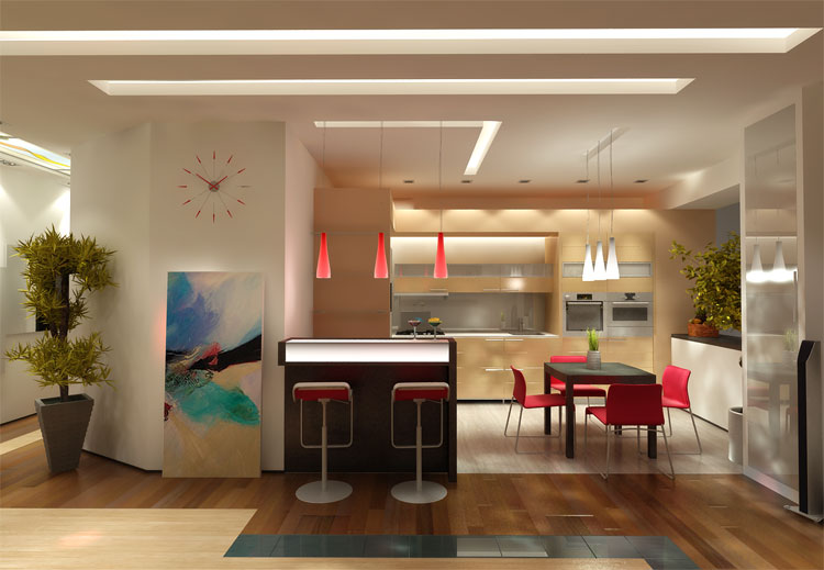Дизайн кухни с декоративным камнем - Фото интерьер кухни.